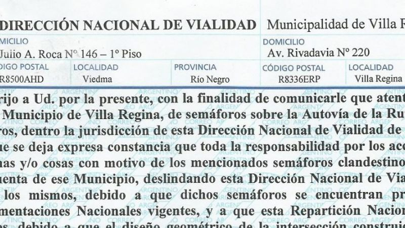 Carta Documento de Vialidad Nacional