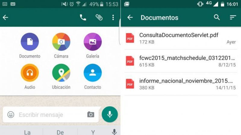 Whatsapp permite enviar documentos en PDF